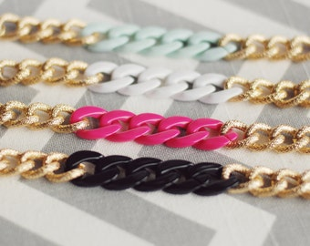 Chunky Faux Pave Gold Chain Bracelet - With Acrylic Color Pop - You Choose, Mint, Fuchsia, Black, White