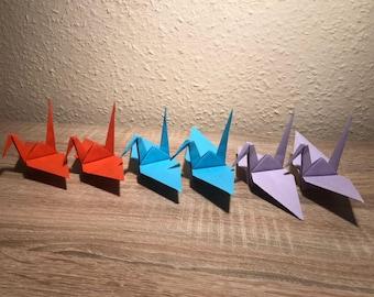 Medium Cranes (50 pieces) with optional colour,  Coloured paper-fold cranes for weddings, parties, etc, Origami Birds, Wedding Birds