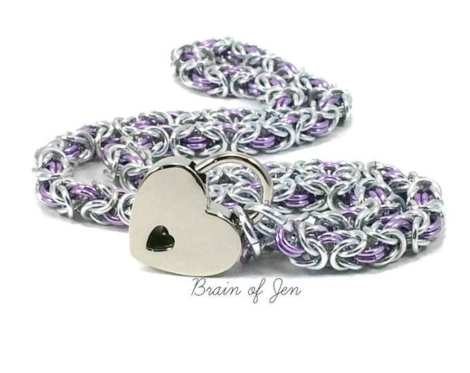 BDSM Slave Collar Pale Lavender Purple and Silver with Heart Shaped Padlock