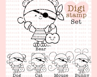 Pirate Animals- Bear, Dog, Cat, Mouse and Bunny Digital Stamp Set for Card Making, Paper Crafts, Scrapbooking, Invitations, Coloring Pages