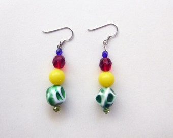 Multi color blue, green, yellow, red vintage bead and sterling silver dangle earrings