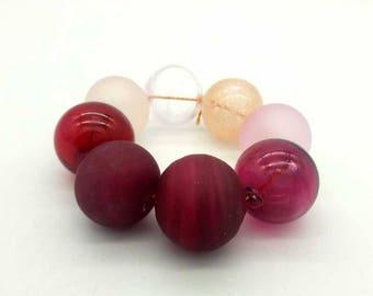 Lampwork glass handmade Beads supplies jewelry Beads for jewelry making Set beads  Frosted beads Hollow balls Beads pink berry fuchsia ruby.