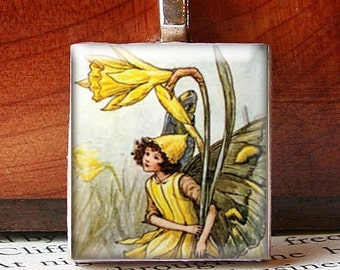 Scrabble Tile Pendant, LITTLE YELLOW FLOWER FAIRY, No. 512 by Jenifersfamilyjewels on Etsy