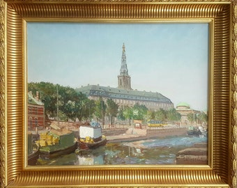 Antique  Oil Landscape Danish Painting  Circa 1950 Signed Ulrichsen
