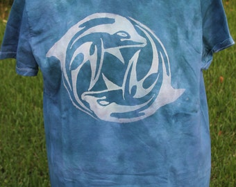 Circling Dolphins hand Dyed Tshirt