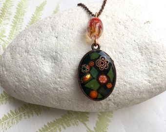 Oval mosaic pendant, millefiori flowers and dichroic stained glass picture necklace, orange and grern hand cut glass jewellery, Mother's Day