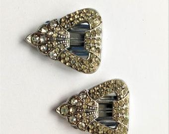 Vintage Dress Clips, Art Deco Dress Clips, Rhinestone Dress Clips, Vintage Brooches, Vintage Wedding