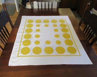 Vintage Startex Large Mod Yellow & White Wonder Dri Kitchen Towel Tablecloth