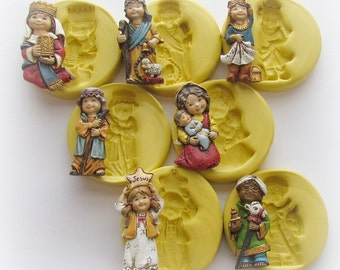 Silicone Nativity Scene Molds Mary Joseph Baby Jesus Angel Mould Set Polymer Clay Resin Mould