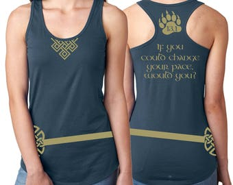 Merida Running Tank Shirt Front, Back - Celtic Knot, Bear Claw - Distance + If you could change your pace, would you? - Indigo + Gold Vinyl