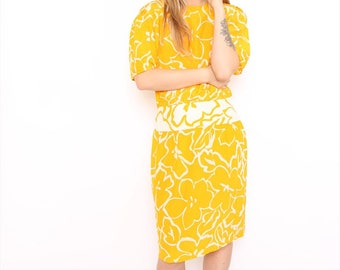 Vintage 80s Yellow Print Silk Midi Occasion Party Dress. UK 12.