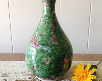 Vintage Chinese Butterfly Vase, Green, Hand Painted Porcelain Butterflies, Foliage Vase, Signed, Asian Characters Stamp