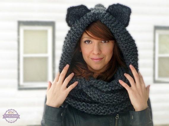 echarpe a capuche a tricoter