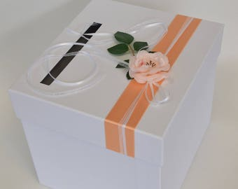 Salmon peach and white piggy bank square urn