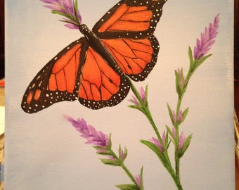 Monarch Butterfly Acrylic Painting 8x10 Canvas Art