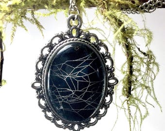 Preserved Real Spider Web Necklace, Spiderweb Cobweb Unique Handmade Pendant Necklace, Halloween Necklace Gothic