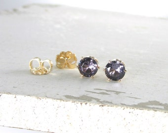 Gold Amethyst Earrings February Birthstone Earrings Gold Amethyst Stud Earrings Gemstone Earrings Birthstone Jewelry Holiday Gift For Her