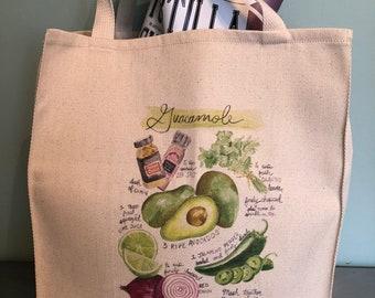 Guacamole Recipe Grocery Bag