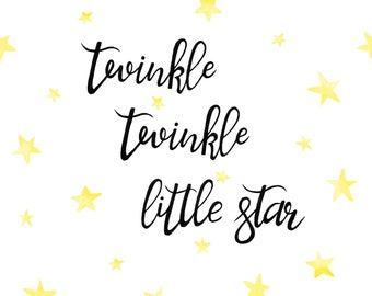 "Kids Room And Nursery Wall Quote Decal. ""Twinkle Twinkle Little Star"""