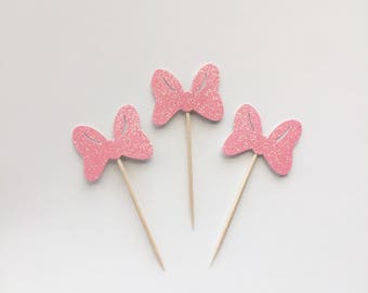 Glitter Bow Cupcake Toppers - Birthday -Baby Shower -Minnie Mouse -Disney -Its a Girl - Little Miss-Dessert Table -Decoration -Donut Toppers