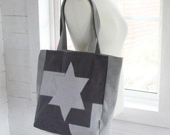 Large Shoulder Bag – Grey Star