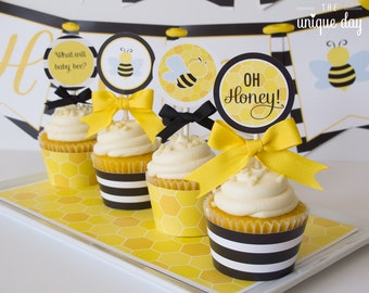 Cupcake Toppers Bee - Cupcake Wrappers Bee - Printables - Instant Download - Baby Shower - Party circles // BEE-03