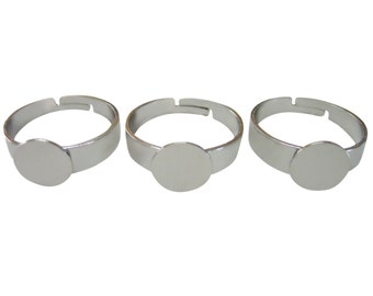 20 Blank Ring Findings with 9mm Gluepad and adjustable ring size
