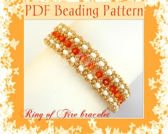 DIY Beading Pattern Ring of Fire bracelet made with RAW 3D e SuperDuo / PDF tutorial with detailed instructions, photos and diagrams