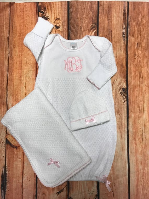 Monogrammed Paty Gown Monogram Infant Gown and Cap Set