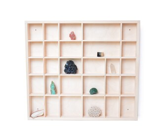 wooden display, unfinished 28 compartments spice rack, unpainted wood knick knack collection keepsake case, shelf, shadow box, organizer