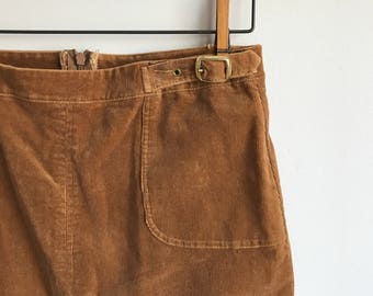 "Brown Corduroy Skirt with Belt, 32"" waist, Equestrian Brown Skirt"