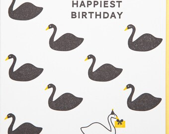 Happiest Birthday Swans letterpressed card