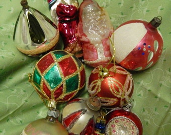 Antique Variety of Christmas Hand Blown, Mercury glass Ornaments Tree Decorations from West Germany,Germany, Poland, USA