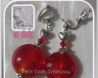"CLIPS OR CHOOSE RED CRYSTALS ""GRENADE"" LAMPWORK GLASS EARRINGS"