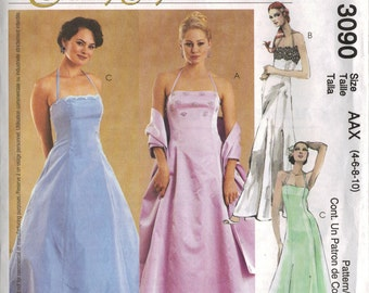 """McCall's """"Evening Elegance"""" Sewing Pattern 3090 - Misses' Lined Dress and Stole (4-10)"""