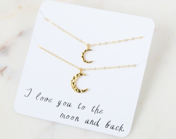 Moon Necklace | Mother Daughter Necklace | Mother Daughter | Crescent Moon Necklace | Gift For Mom | Mother's Day Gift | Best friend gift