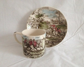 Johnson Bros Tally Ho Demitasse Cup and Saucer Made in England