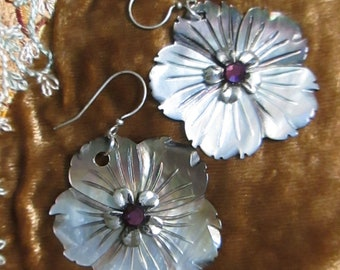 Carved Shell Flower Earrings with Rhinestone Centers.