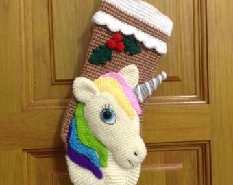 PATTERN-Unicorn Christmas Stocking-Crochet Pattern, pdf