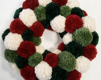 Large Pom Pom Christmas Wreath / Wall Hanging