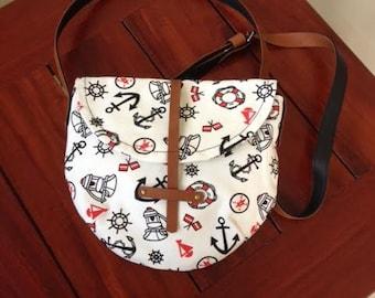 Canvas Cross Body Bag Handmade Anchor