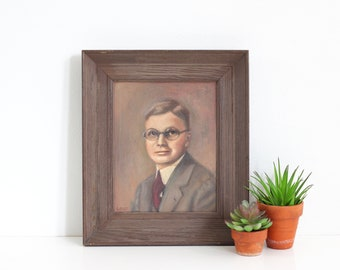 Vintage Portrait Painting / Vintage Hand-Painted Portrait / Vintage Framed Painting of Man with Glasses / Framed Vintage Painting