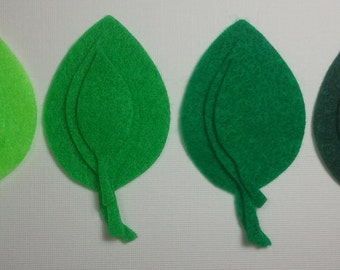 Leaves -- 36 Felt Die Cut Shapes -- Appliques Embellishments for Crafts Hair Bows Clippies Clips -- QUICK TO SHIP
