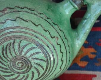 Antique Balkan green glaze pottery -  jug