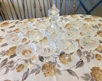 Waterford Decanter & Set of 12 Crystal Champagne/Sherbet Stemware