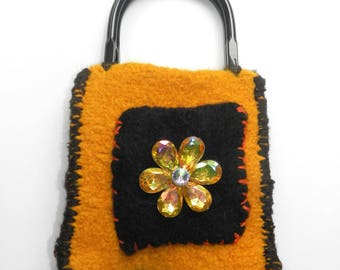 Hand Knit Sunflower Gold, Black and Grey Felt Bag - Mah-Jongg 9 Dot