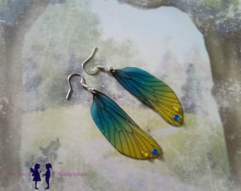 Magical Yellow and Blue Fairy Wing Earrings