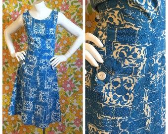 SALE! 60s Vintage Blue Floral Cotton Day Dress Medium Large