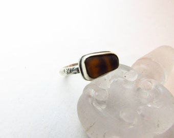 Brown Sea Glass Sterling Silver Ring