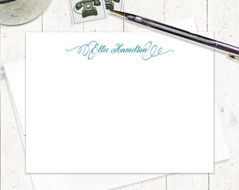 personalized note card set - PERFECTLY ELEGANT - set of 12 flat notecards - feminine stationery - fancy stationary - custom